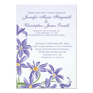 "Watercolor Purple Spring Flowers Wedding 5"" X 7"" Invitation Card"