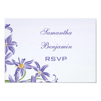 "Watercolor Purple Spring Flowers Wedding RSVP 3.5"" X 5"" Invitation Card"