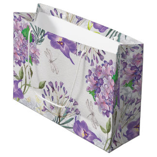 Watercolor Purple Violets Hydrangeas Dragonfly Large Gift Bag