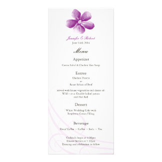 Watercolor Purple Wedding Menu Card