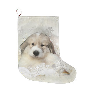 Watercolor Pyr Pup Large Christmas Stocking