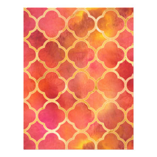 Watercolor Quatrefoil Personalized Letterhead