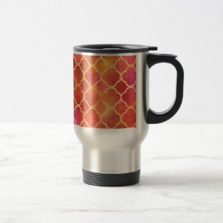 Watercolor Quatrefoil Travel Mug