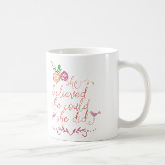 Watercolor Quote She believed she could so she did Classic White Coffee Mug