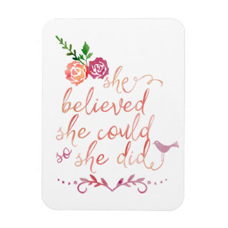 Watercolor Quote She Believed She Could So She Did Rectangular Photo Magnet