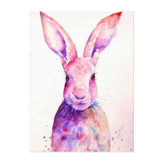 Watercolor Rabbit Hare Canvas Print