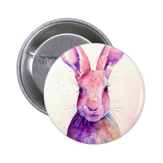 Watercolor Rabbit Hare Portrait 2 Inch Round Button