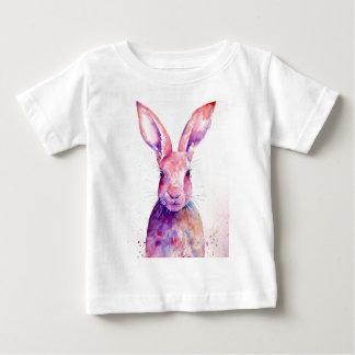 Watercolor Rabbit Hare Portrait Baby T-Shirt