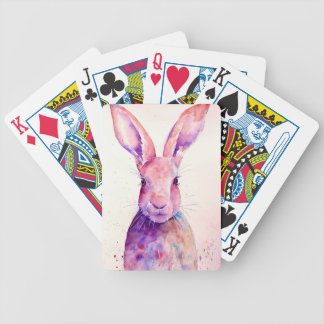 Watercolor Rabbit Hare Portrait Bicycle Playing Cards