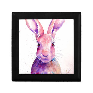 Watercolor Rabbit Hare Portrait Gift Box
