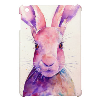 Watercolor Rabbit Hare Portrait iPad Mini Case