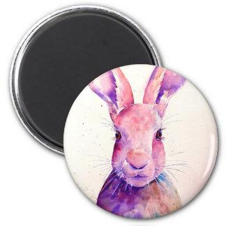 Watercolor Rabbit Hare Portrait Magnet