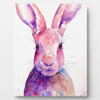 Watercolor Rabbit Hare Portrait Plaque