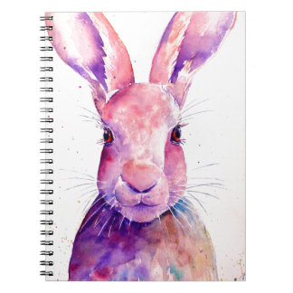 Watercolor Rabbit Hare Portrait Spiral Notebook