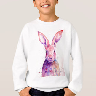 Watercolor Rabbit Hare Portrait Sweatshirt