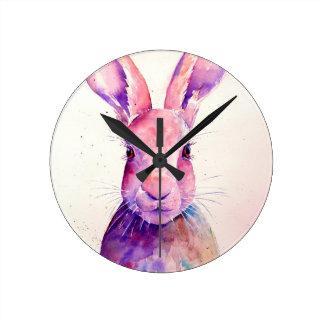 Watercolor Rabbit Hare Portrait Wallclocks