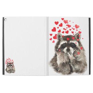 "Watercolor Raccoon Blowing Kisses Cute Animal Art iPad Pro 12.9"" Case"