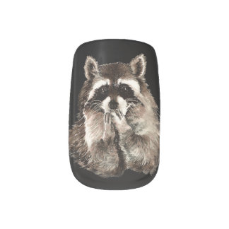Watercolor Raccoon Blowing Kisses Funny Animal Art Minx Nail Art