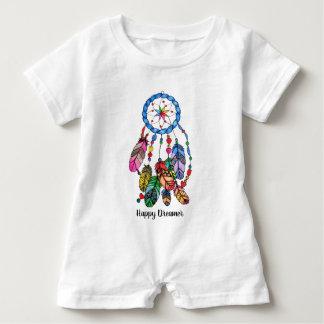 Watercolor rainbow dream catcher & inspiring words baby romper