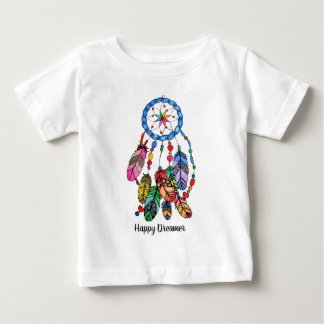 Watercolor rainbow dream catcher & inspiring words baby T-Shirt