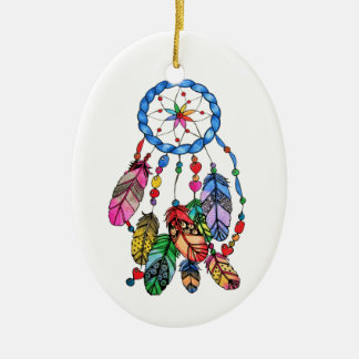 Watercolor rainbow dream catcher & inspiring words ceramic ornament