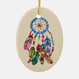 Watercolor rainbow dream catcher & inspiring words ceramic ornament