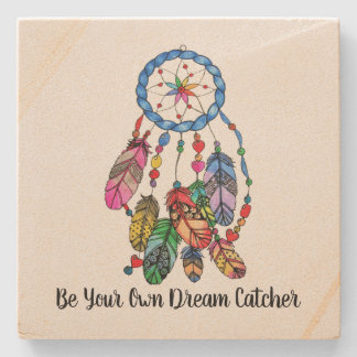 Watercolor rainbow dream catcher & inspiring words stone coaster