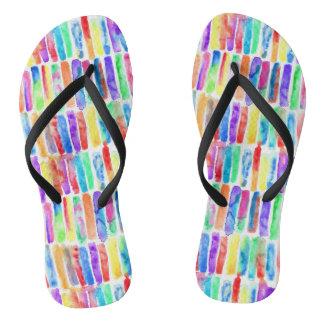 Watercolor Rainbow Flip Flops