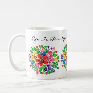 Watercolor Rainbow Flowers Coffee Mug