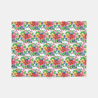 Watercolor Rainbow Flowers Fleece Blanket