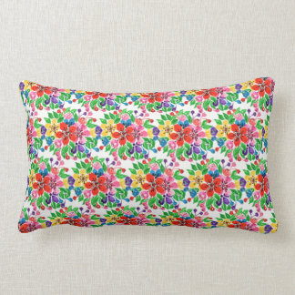 Watercolor Rainbow Flowers Lumbar Pillow