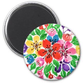 Watercolor Rainbow Flowers Magnet