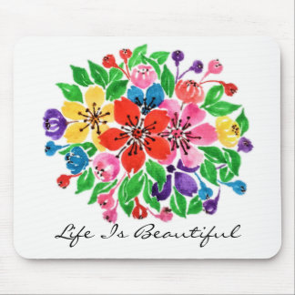 Watercolor Rainbow Flowers Mouse Pad