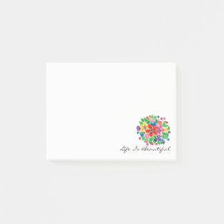 Watercolor Rainbow Flowers Post-it Notes