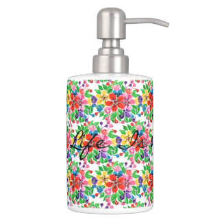Watercolor Rainbow Flowers Soap Dispenser And Toothbrush Holder