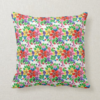 Watercolor Rainbow Flowers Throw Pillow