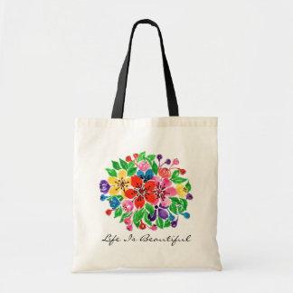 Watercolor Rainbow Flowers Tote Bag