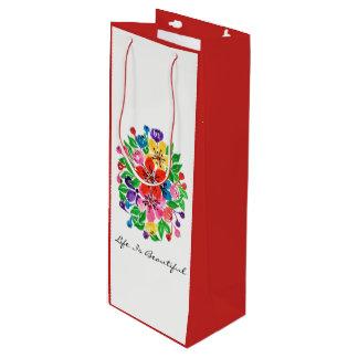 Watercolor Rainbow Flowers Wine Gift Bag