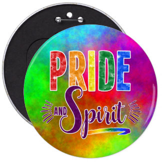 Watercolor Rainbow Gay Pride and Spirit Message 6 Inch Round Button