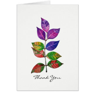 Watercolor Rainbow Leaves Card