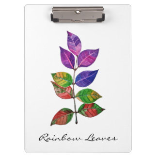 Watercolor Rainbow Leaves Clipboard