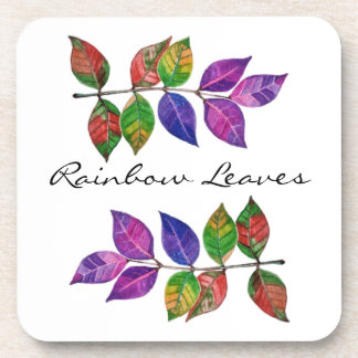 Watercolor Rainbow Leaves Coaster