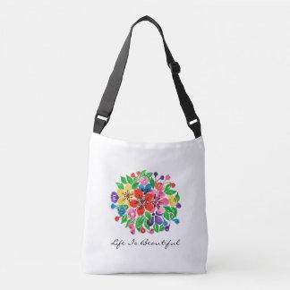 Watercolor Rainbow Leaves Crossbody Bag