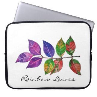 Watercolor Rainbow Leaves Laptop Sleeve
