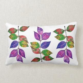 Watercolor Rainbow Leaves Lumbar Pillow