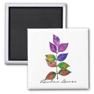Watercolor Rainbow Leaves Magnet