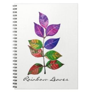 Watercolor Rainbow Leaves Notebooks