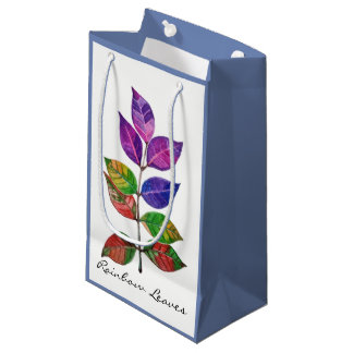 Watercolor Rainbow Leaves Small Gift Bag