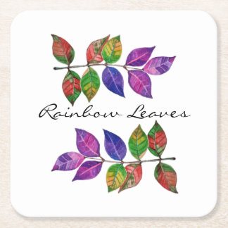 Watercolor Rainbow Leaves Square Paper Coaster