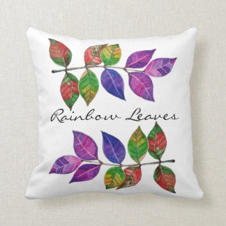 Watercolor Rainbow Leaves Throw Pillow